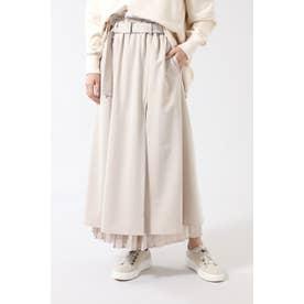 プリーツレイヤードベルテッドスカート ベージュ