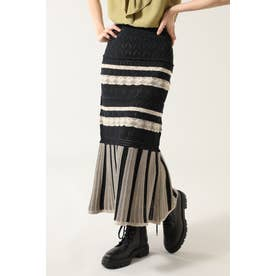 レース編みニットスカート ブラック