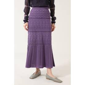 レース編みニットスカート パープル