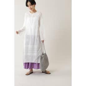 アイライン刺繍ワンピース ホワイト
