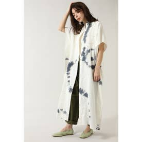 フリンジネックロングシャツドレス ホワイト