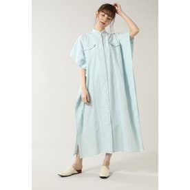フリンジネックロングシャツドレス ブルー