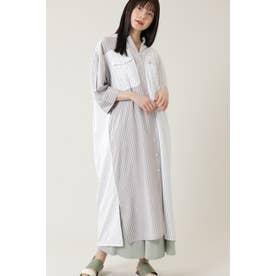 ワークポケットパネルマキシシャツドレス ホワイト