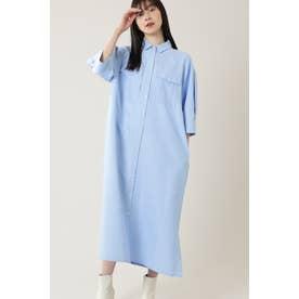 ワークポケットパネルマキシシャツドレス ブルー