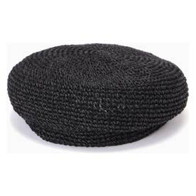 クロシェ編みベレー帽 ブラック