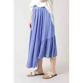 チェックアシメトリースカート ブルー