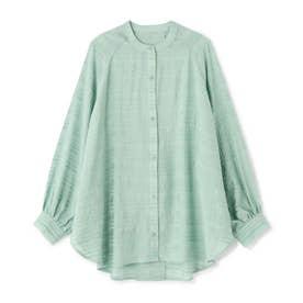 シアーボーダービッグシャツ ライトグリーン