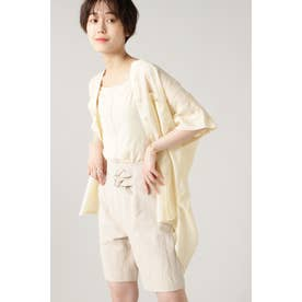 バンドカラー半袖シャツ ホワイト