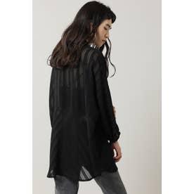 ドビーストライプシアーシャツ ブラック