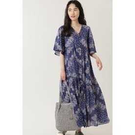 バンダナボタンフロントフレアスリーブドレス ブルー