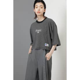 <RUSSELL ATHLETIC×CREOLME>クロップドボーダーTシャツ ブラック