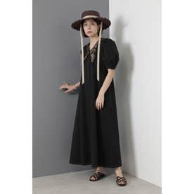 コード刺繍襟つきワンピース ブラック