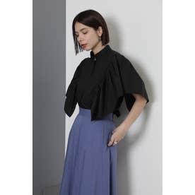 ラッフルスリーブシャツ ブラック