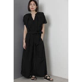 ギャザーデザインロングドレス ブラック