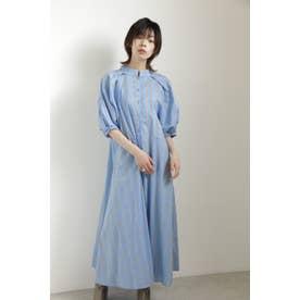 袖ボリュームトラペーズドレス ブルー