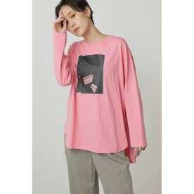 Paul RandグラフィックロングTシャツ ピンク