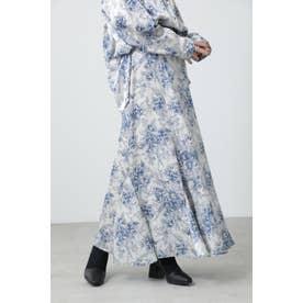 クラシックフラワースカート ブルー