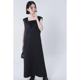 Vネックジャンパースカート ブラック