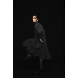 コットンパネルボタンティアードヘムシャツドレス ブラック