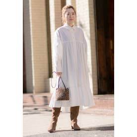 コットンパネルボタンティアードヘムシャツドレス ホワイト