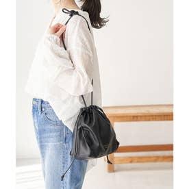 【WEB限定カラー:シルバー】洗える巾着型ミドルショルダーバッグ (ブラック(01))