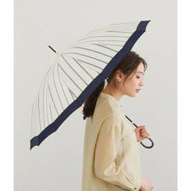 【晴雨兼用】【Wpc.】16本骨切り継ぎストライプアンブレラ (オフホワイト(15))