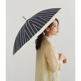 【晴雨兼用】【Wpc.】16本骨切り継ぎストライプアンブレラ (ネイビー系(41))