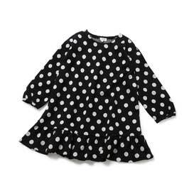 【ROPE' PICNIC KIDS】ドットジャカード裾切替えワンピース (ブラック(01))