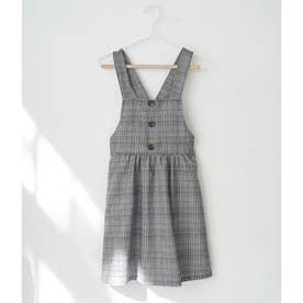【ROPE' PICNIC KIDS】チェックジャンパースカート (ブラック(01))