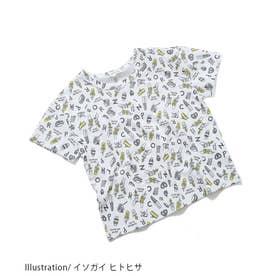 【イソガイ ヒトヒサ×ROPE' PICNIC KIDS】手書き風総柄Tシャツ (ホワイト系(11))