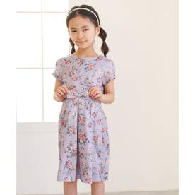 【ROPE' PICNIC KIDS】ウエストリボンタック小花柄ワンピース (ラベンダー系(53))