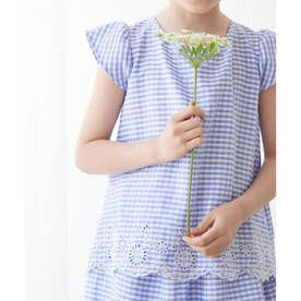 【KIDS】【セットアップ対応】裾スカラップフレンチスリーブブラウス (ブルー(44))