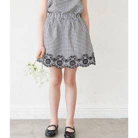 【KIDS】【セットアップ対応】裾スカラップインナーパンツ付スカート (ブラック(01))