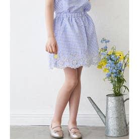 【KIDS】【セットアップ対応】裾スカラップインナーパンツ付スカート (ブルー(44))