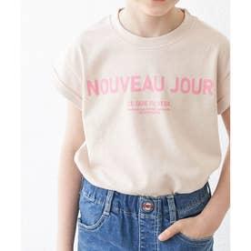 【KIDS】折り返しフレンチスリーブメッセージTシャツ (ベージュ(27))