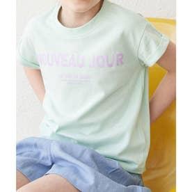 【KIDS】折り返しフレンチスリーブメッセージTシャツ (グリーン系(35))