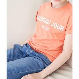 【KIDS】折り返しフレンチスリーブメッセージTシャツ (オレンジ系(71))