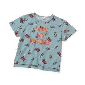 【KIDS】車総柄半袖Tシャツ (ブルー系(45))
