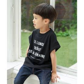 【KIDS】メッセージフレンチスリーブTシャツ (ブラック(01))