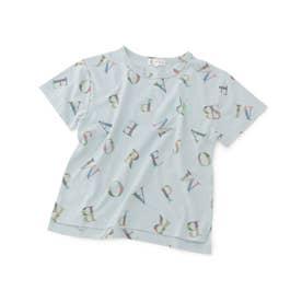 【KIDS】アルファベット総柄Tシャツ (ブルー(44))