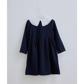 【KIDS】裏起毛付け衿ワンピース (ネイビー(40))