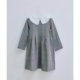 【KIDS】【リンクコーデ】付け衿ワンピース (ブラック系(02))