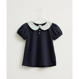 【ROPE' PICNIC KIDS】小花衿ギャザープルオーバー (ブルー(44))