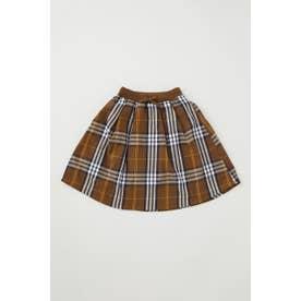 キッズ リブロング スカート 柄BRN5