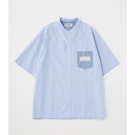 ブロッキング ストライプシャツ 柄BLU5