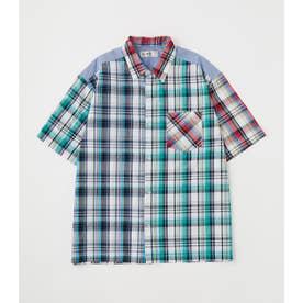 ブロッキング チェックシャツ 柄WHT5