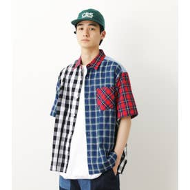ブロッキング チェックシャツ 柄RED5