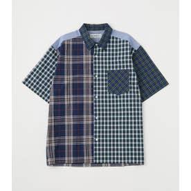 ブロッキング チェックシャツ 柄NVY5