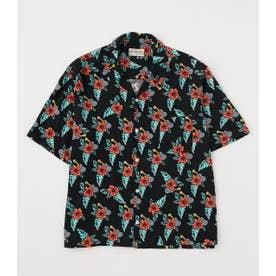 メンズアロハシャツ'21 柄BLK5
