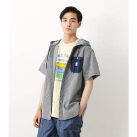 フードワークシャツ 柄BLU5